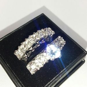 Beautiful White Gold Plated Engagement Ring